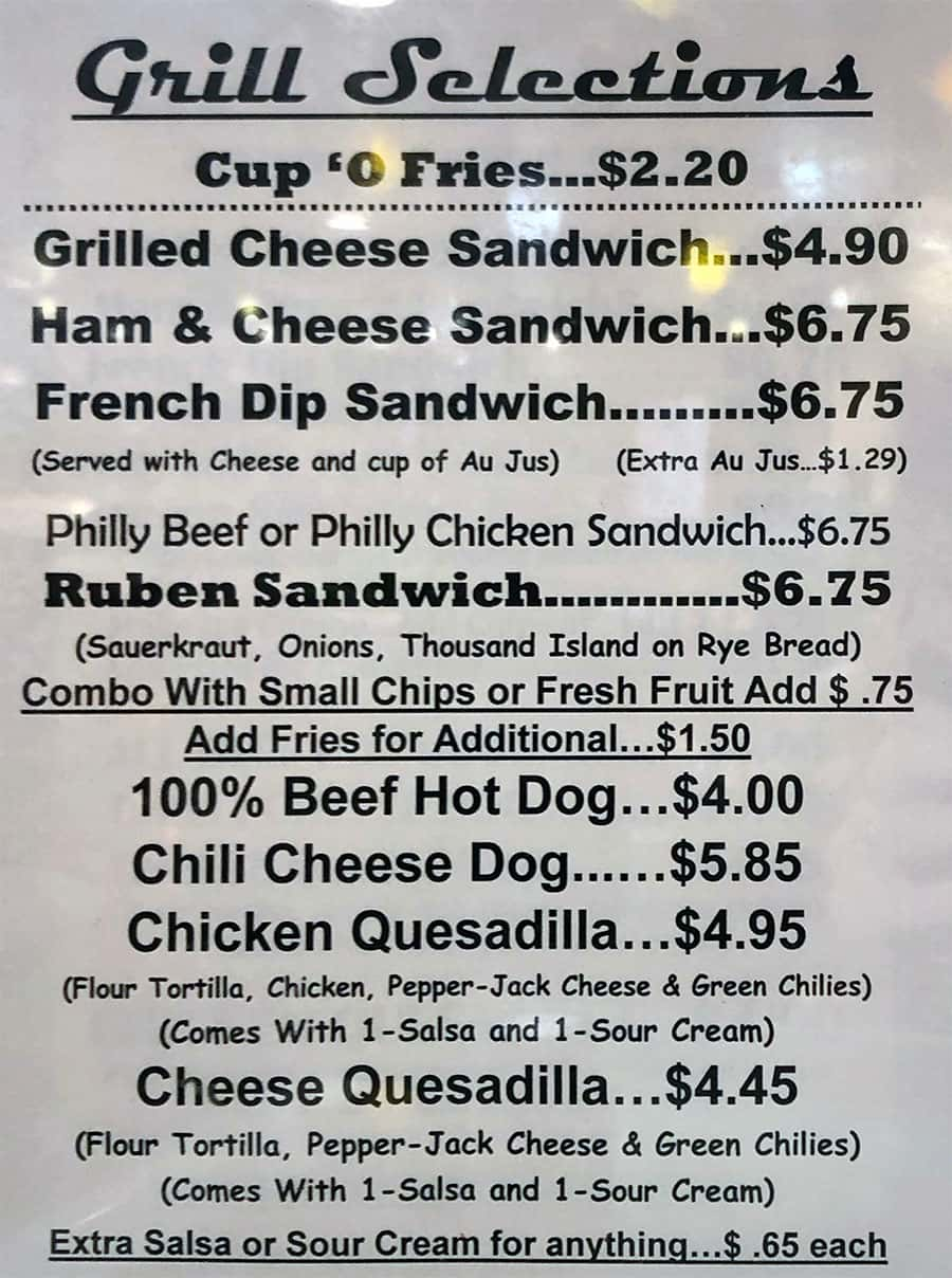 University Of Utah cafeteria menu - grill selections