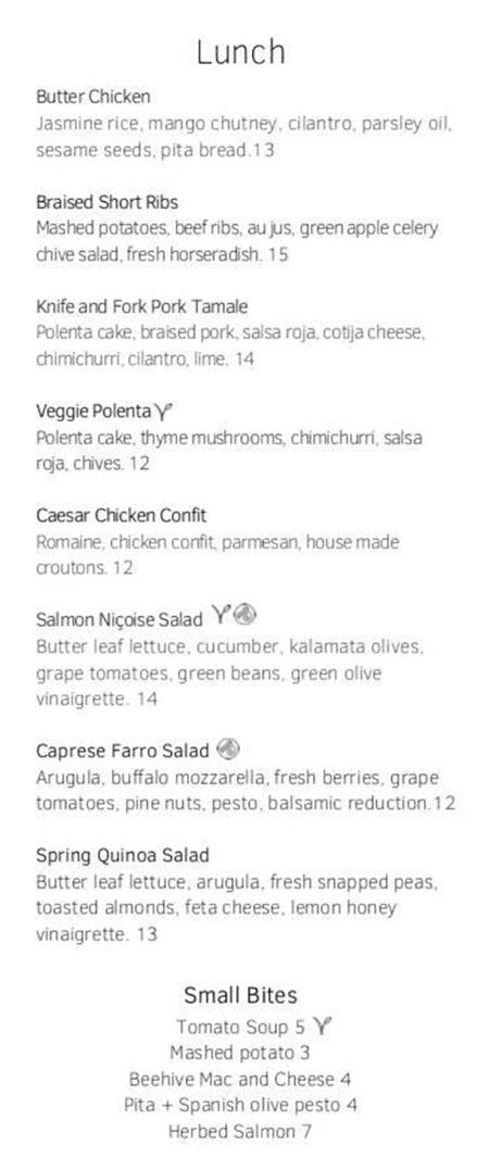 Cotton Kitchen menu - lunch