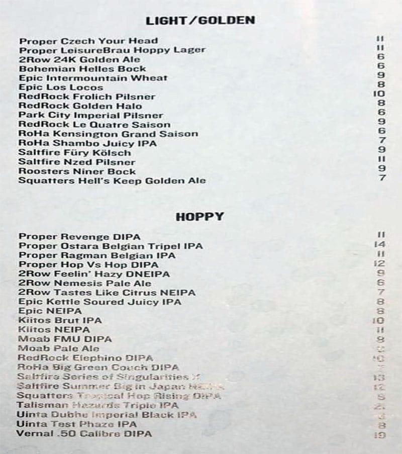 Craft By Proper menu - light golden, hoppy