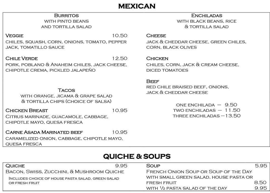 Desert Edge Brewery menu - Mexican, quiche, soup