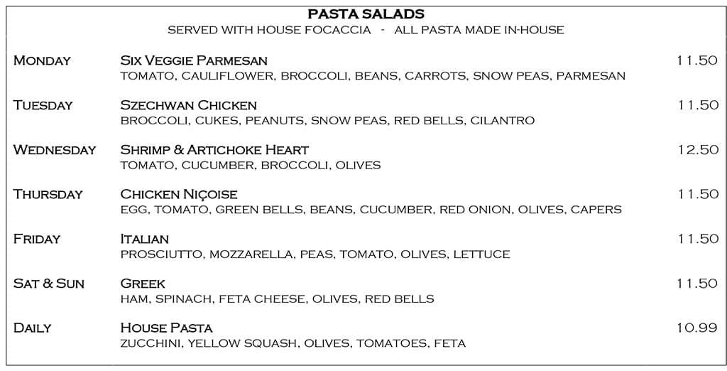 Desert Edge Brewery menu - pasta salads