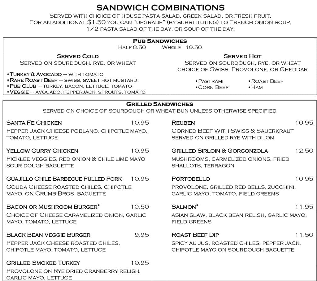 Desert Edge Brewery menu - sandwiches