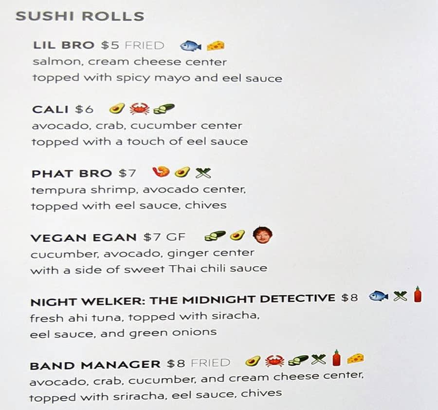 Fiove Sushi Brothers SLC menu - sushi rolls