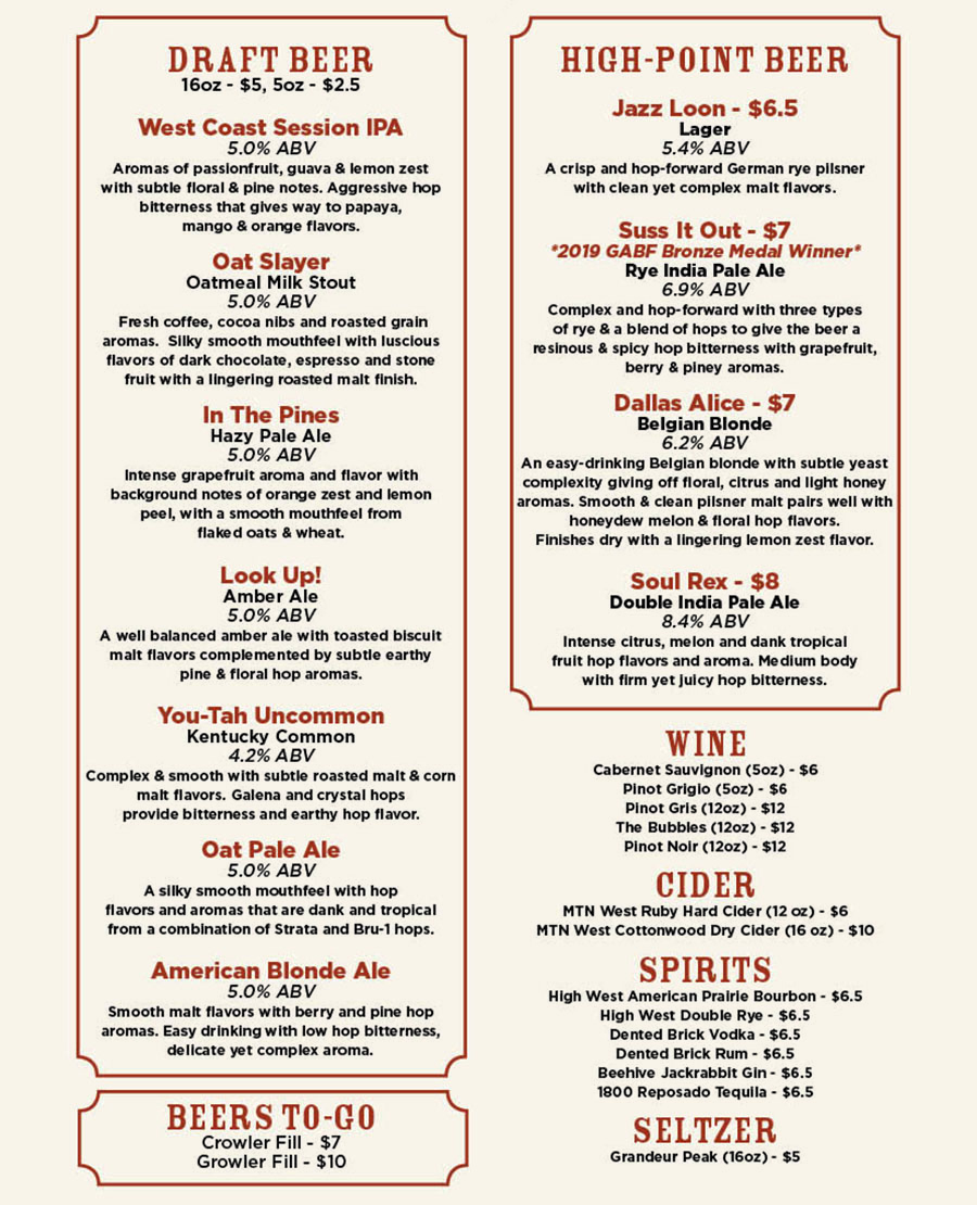 Level Crossing Brewing Company menu - beer, wine, cider