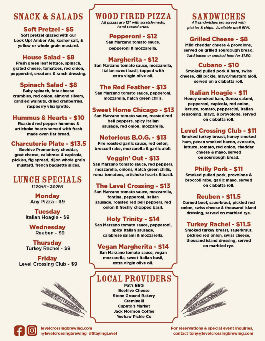 Level Crossing Brewing Company menu - snacks, salads, pizza, sandwiches