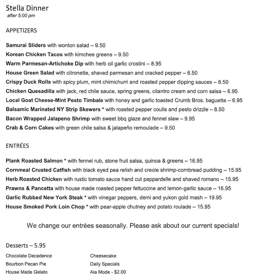 Stella Grill menu - dinner