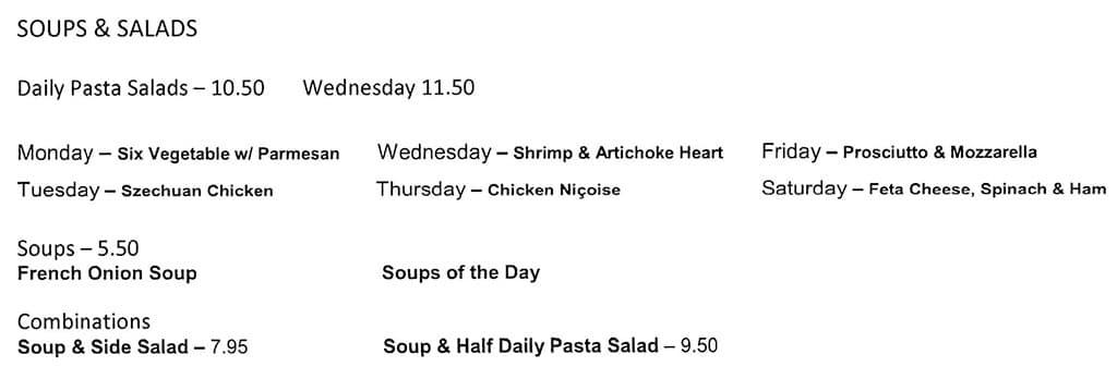 Stella Grill menu - soups, sandwiches