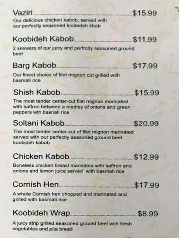 Sumac Cafe menu - kabobs