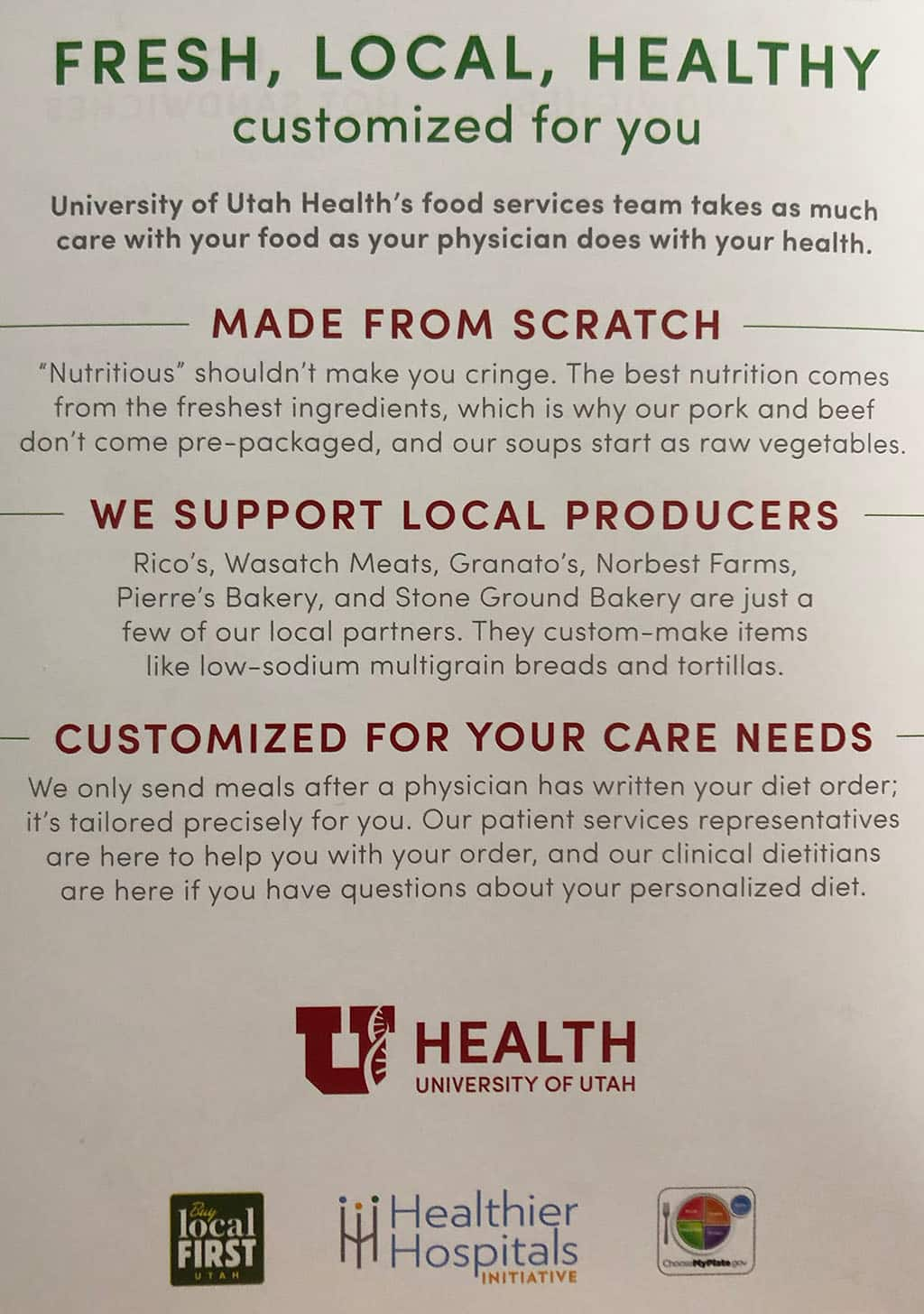 University Of Utah Hospital In Patient menu - details