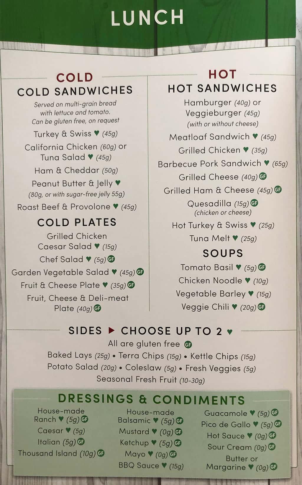 University Of Utah Hospital In Patient menu - lunch