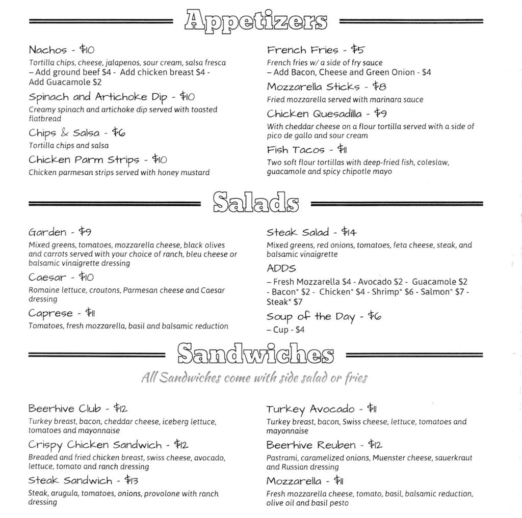 Beerhive Pub food menu - appetizers, salads, sandwiches