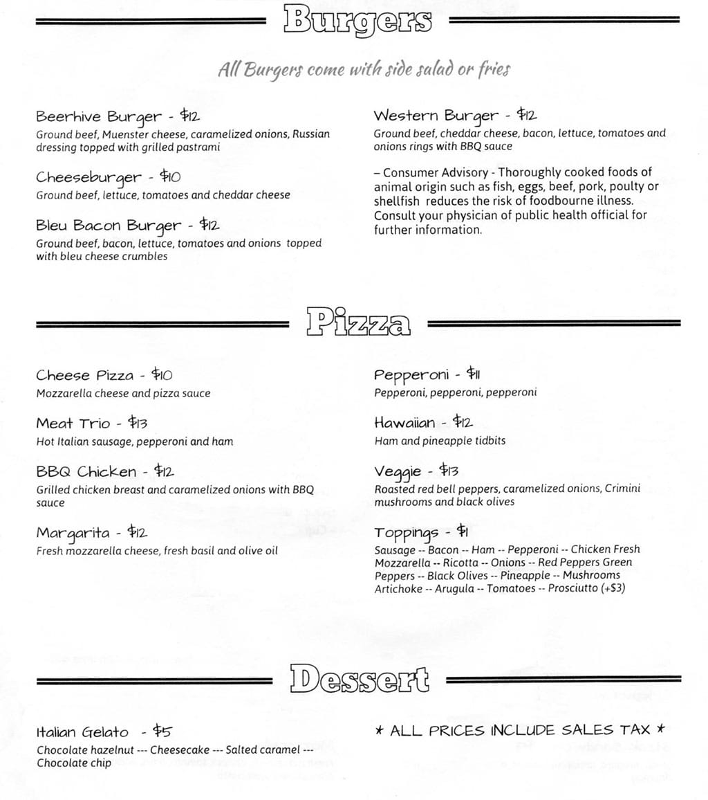 Beerhive Pub food menu - burgers, pizza, dessert