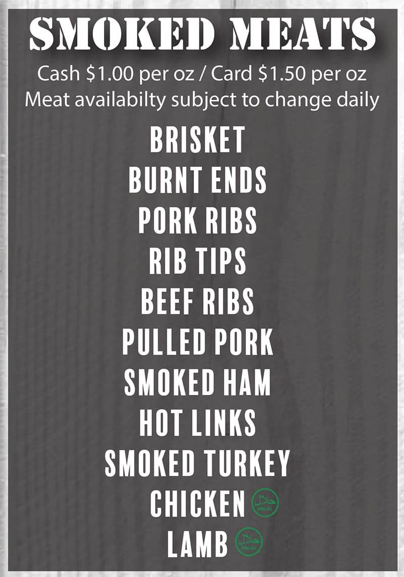 Benji's Bar-B-Que Shack menu - meats