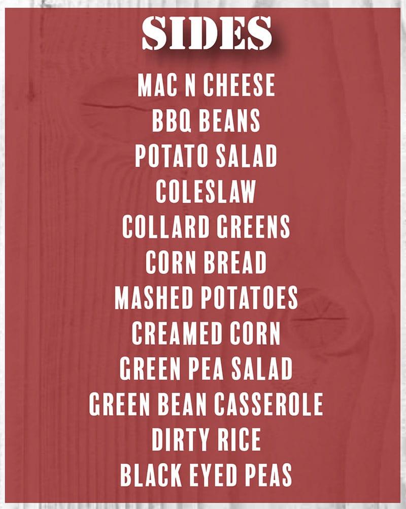 Benji's Bar-B-Que Shack menu - sides