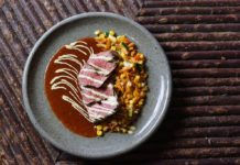 Bison with sweet potato succotash