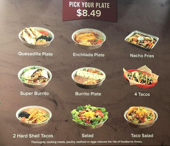Hacienda Mexican Grill menu - pick your plate specials