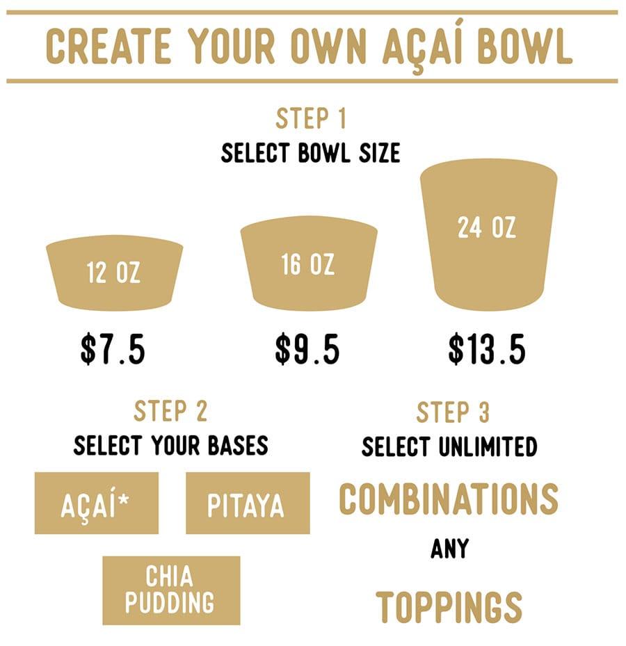 Honest Eatery menu - acai bowls