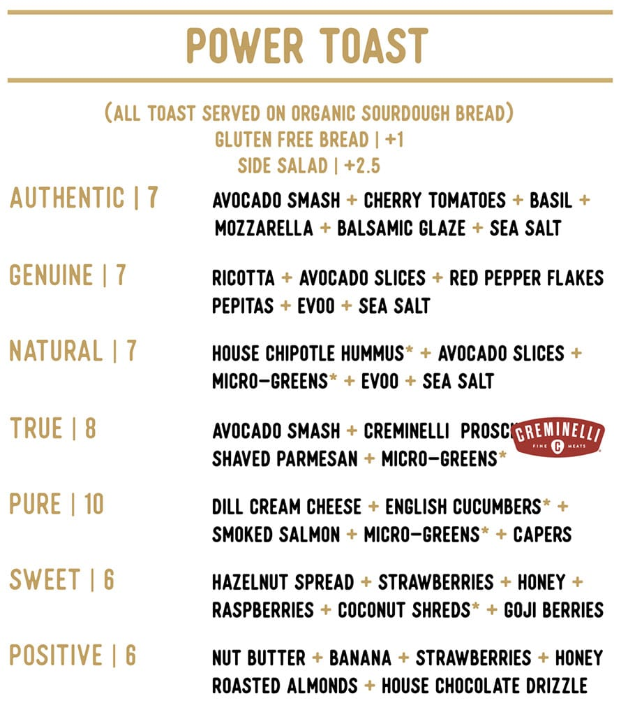 Honest Eatery menu - power toast