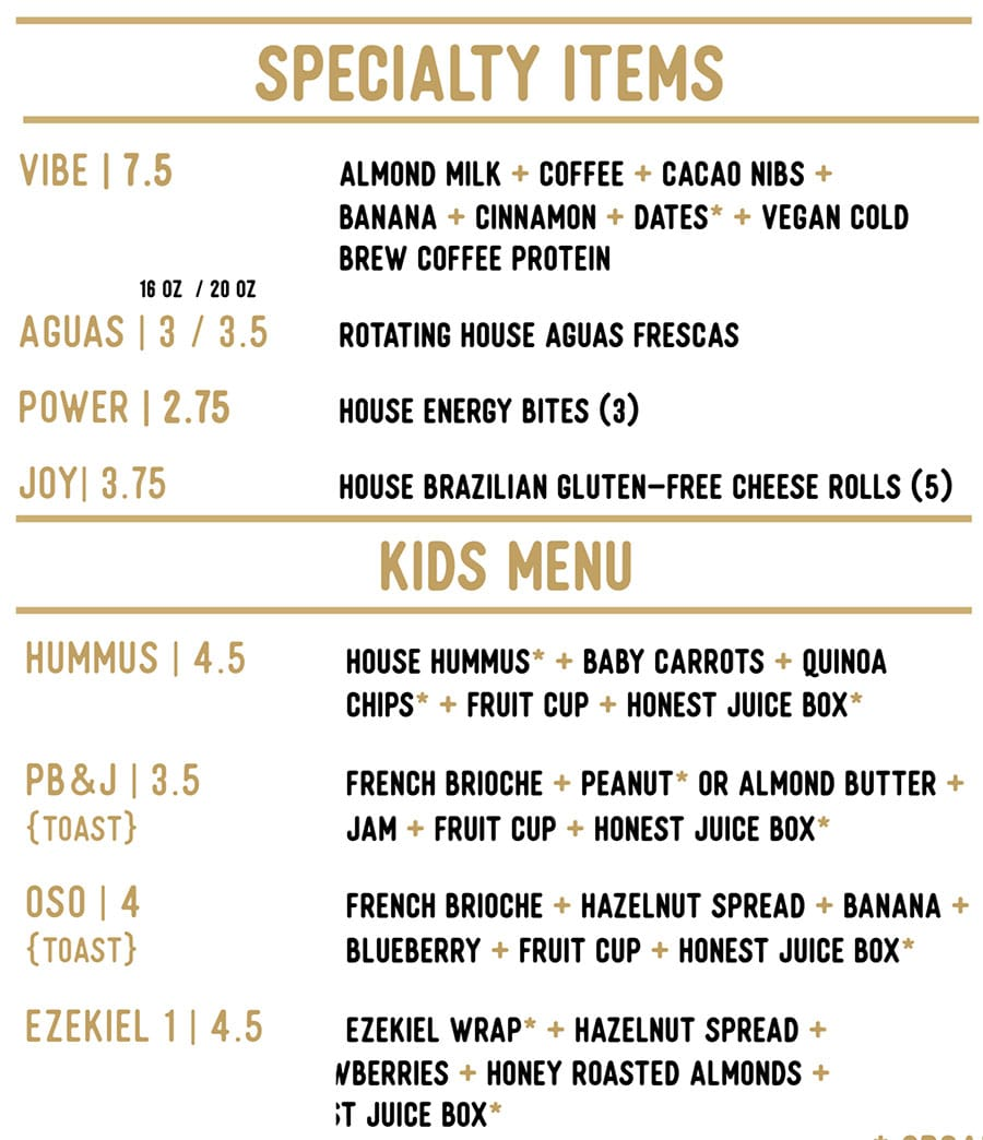 Honest Eatery menu - specialty items, kids