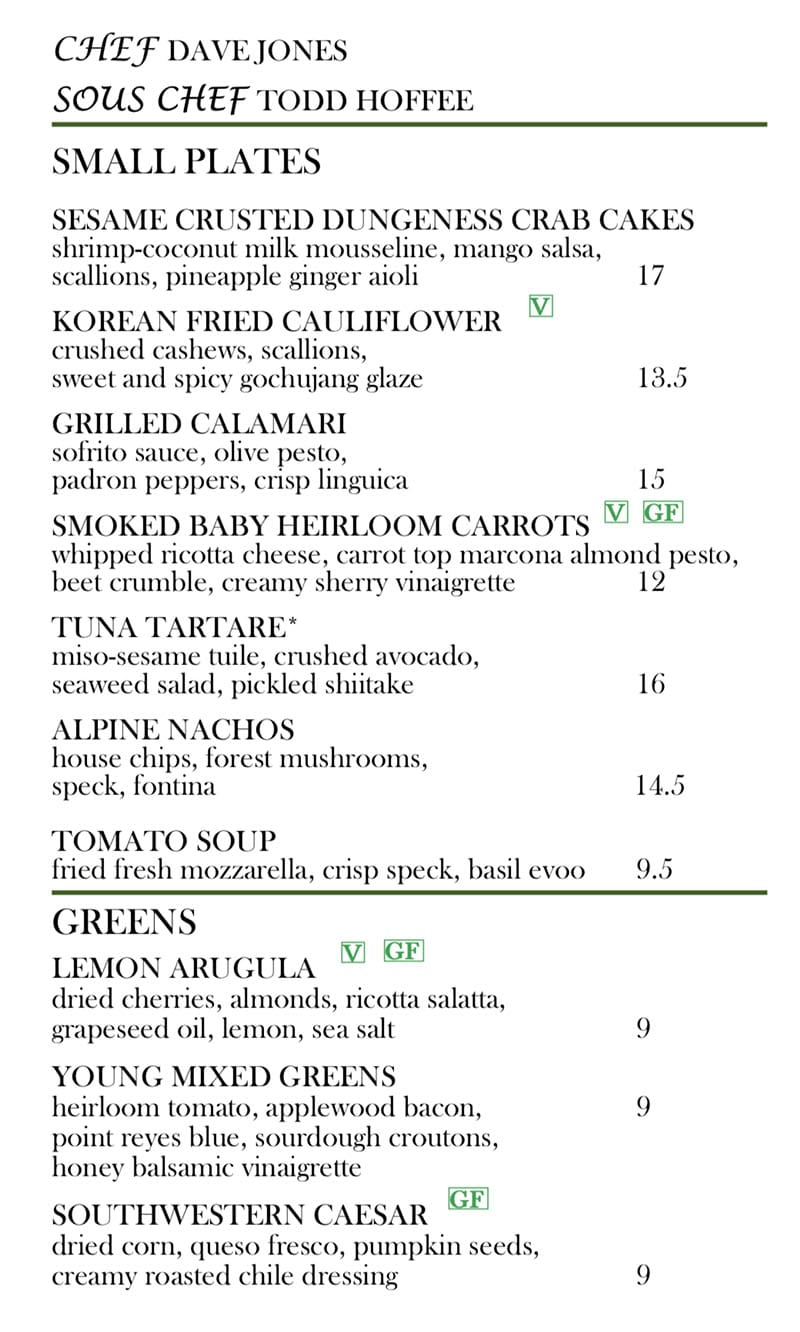 Log Haven Spring 2019 menu - appetitzers, soups, salads