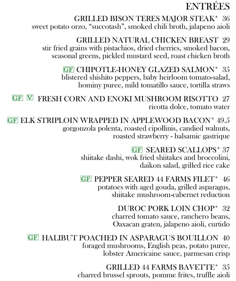 Log Haven Spring 2019 menu - entrees