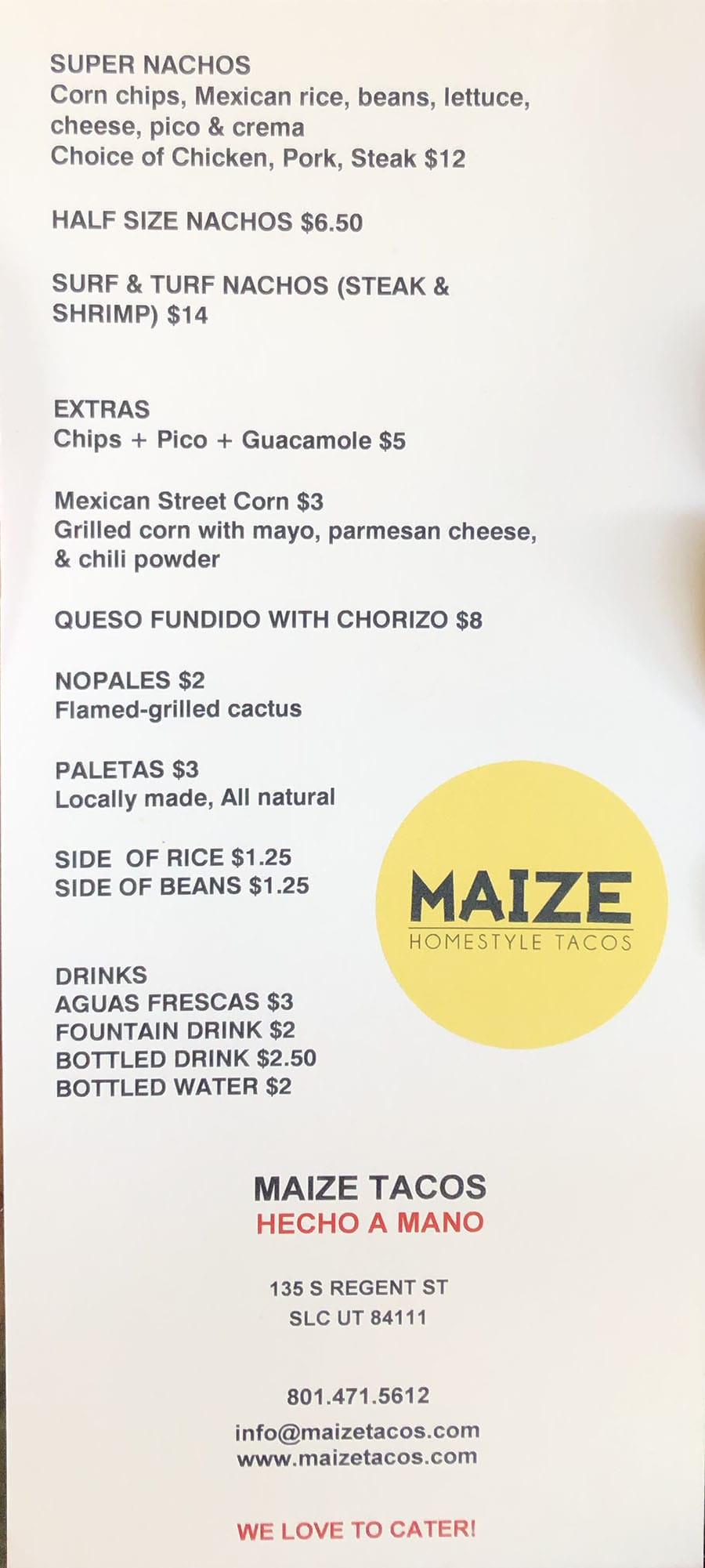 Maize Tacos menu - other items