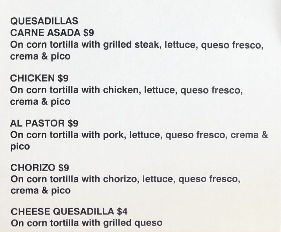 Maize Tacos menu - quesadillas