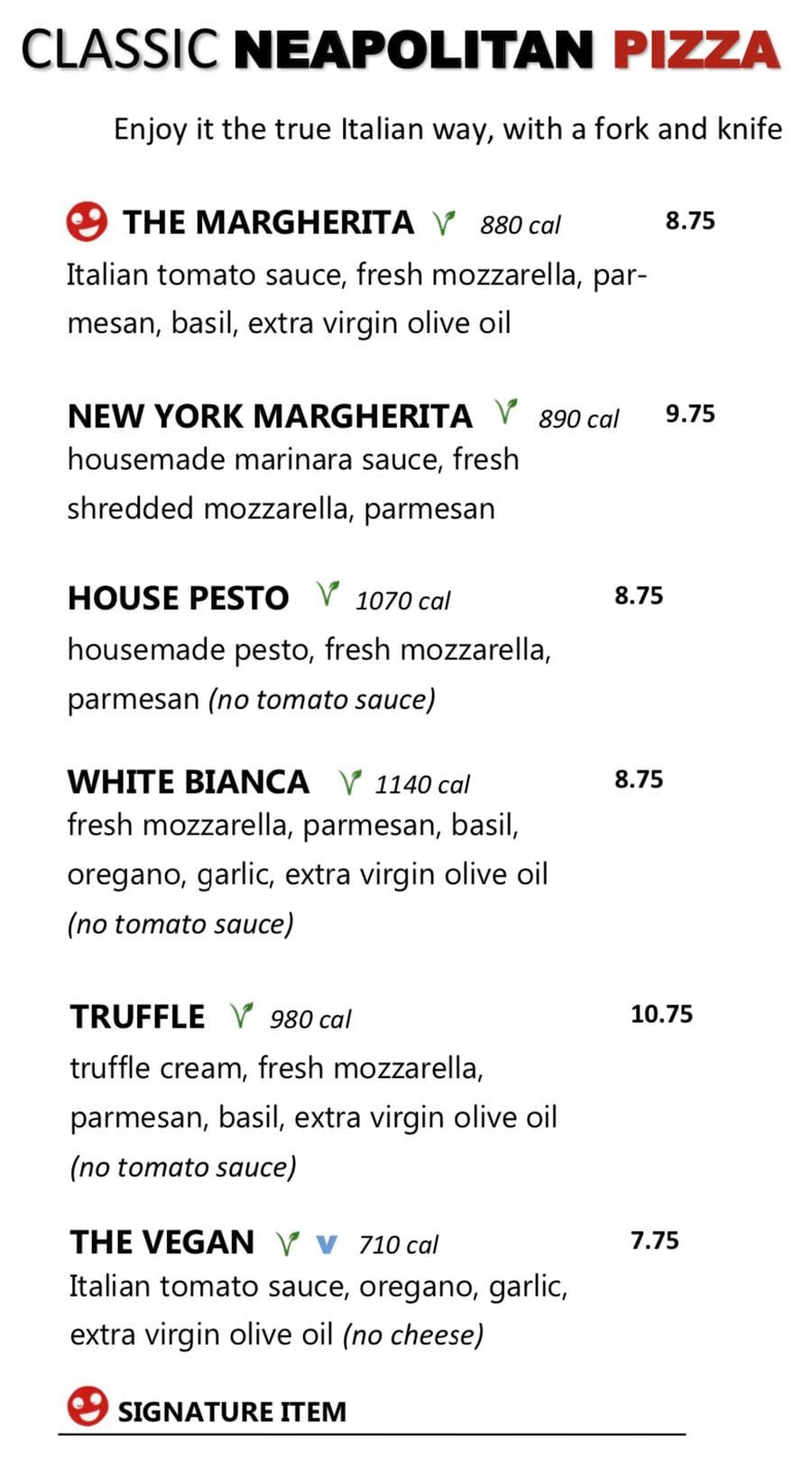 Midici Orem menu - classic neapolitan pizza