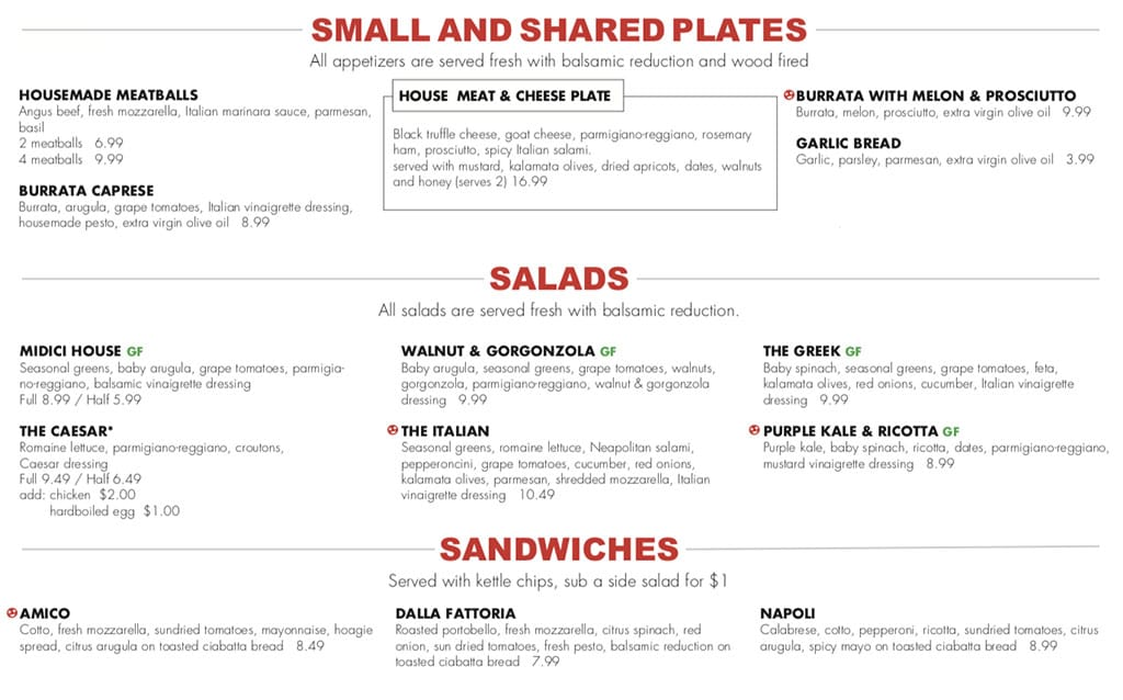 Midici The Gateway menu - small plates, salads, sandwiches