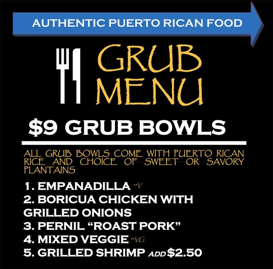 Papito Moe's food truck menu - grub bowls