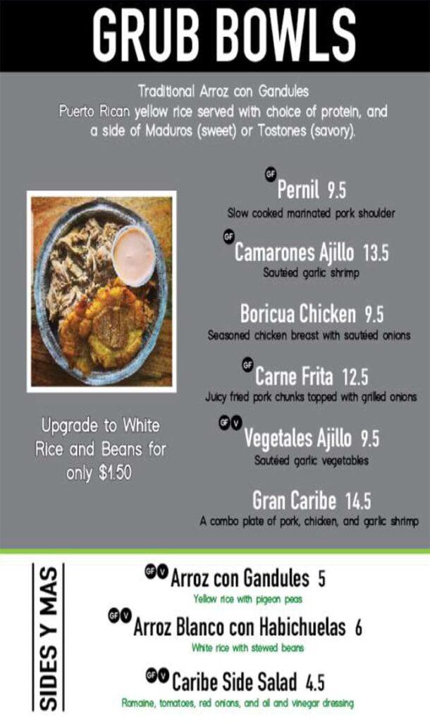 Papito Moe's menu - grub bowls
