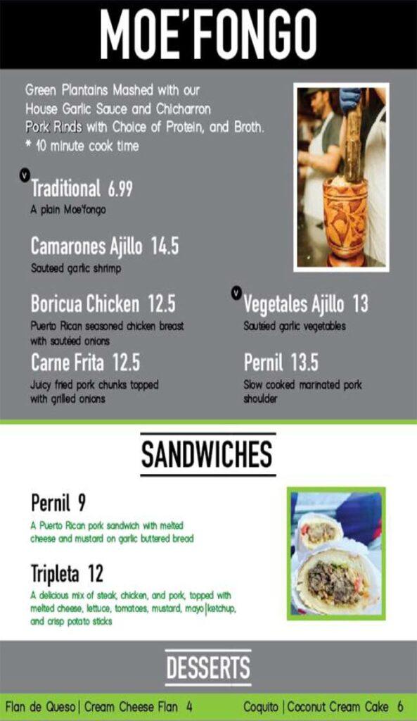 Papito Moe's menu - moe fongo