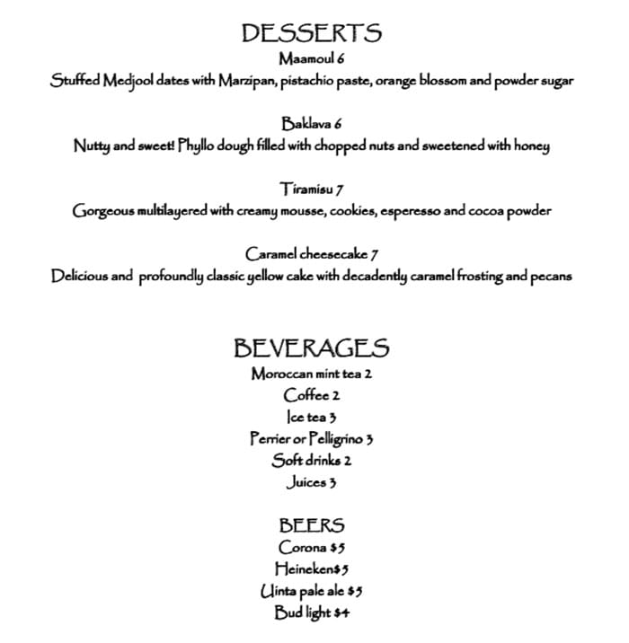 Pasha Middle Eastern Cuisine menu - desserts, beverages