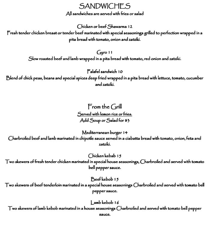 Pasha Middle Eastern Cuisine menu - sandwiches, grill