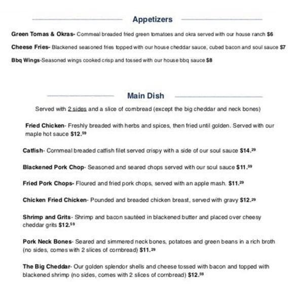 Sauce Boss Southern Kitchen menu - appetizers, entrees