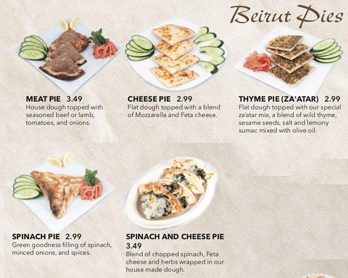 Beirut Cafe menu - Beirut pies