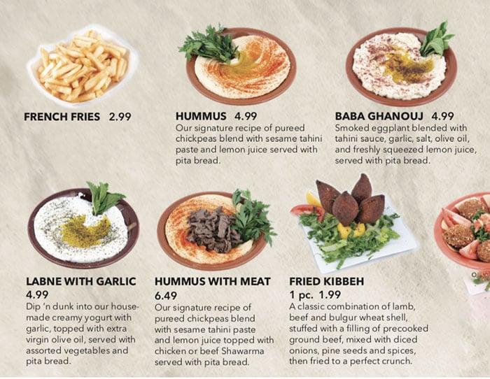Beirut Cafe menu - appetizers