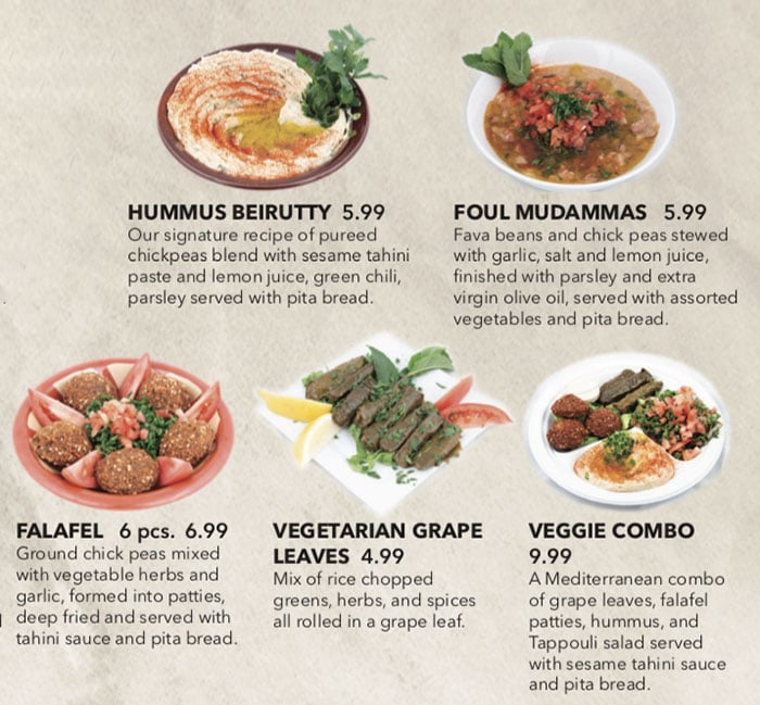 Beirut Cafe menu - appetizers continued