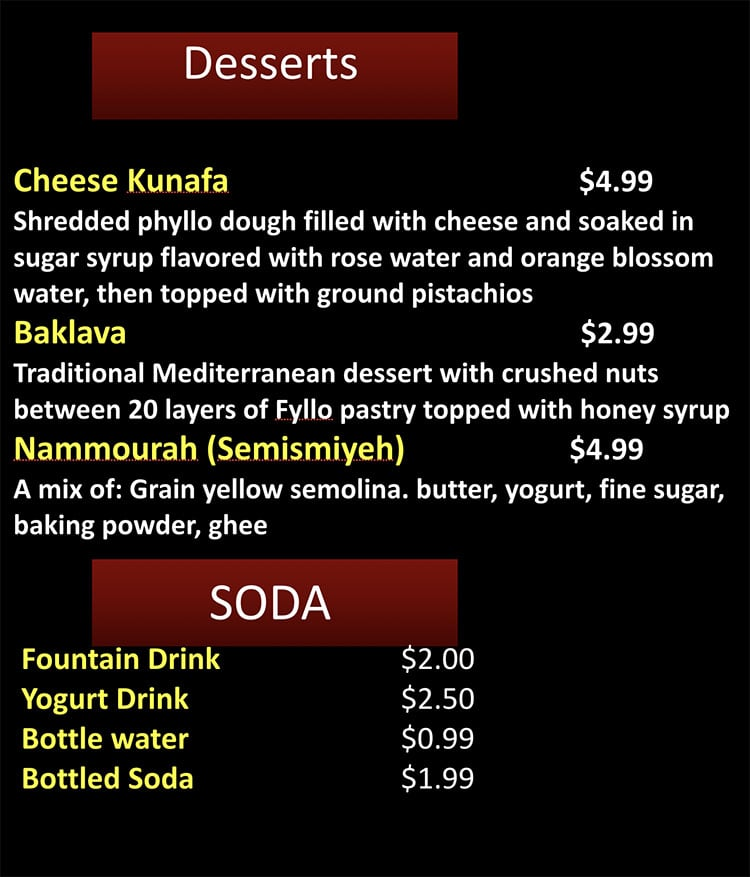 Beirut Cafe menu - dessert, soda
