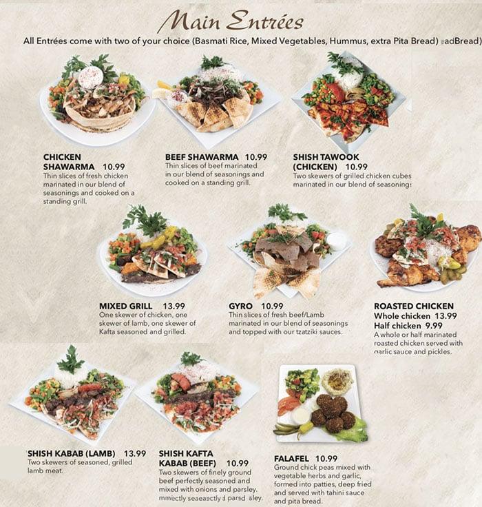 Beirut Cafe menu - entrees