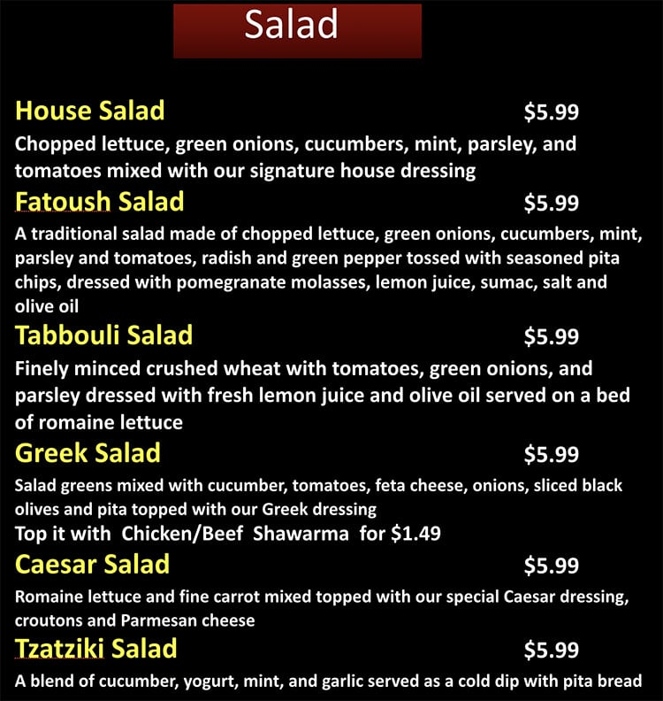 Beirut Cafe menu - salad