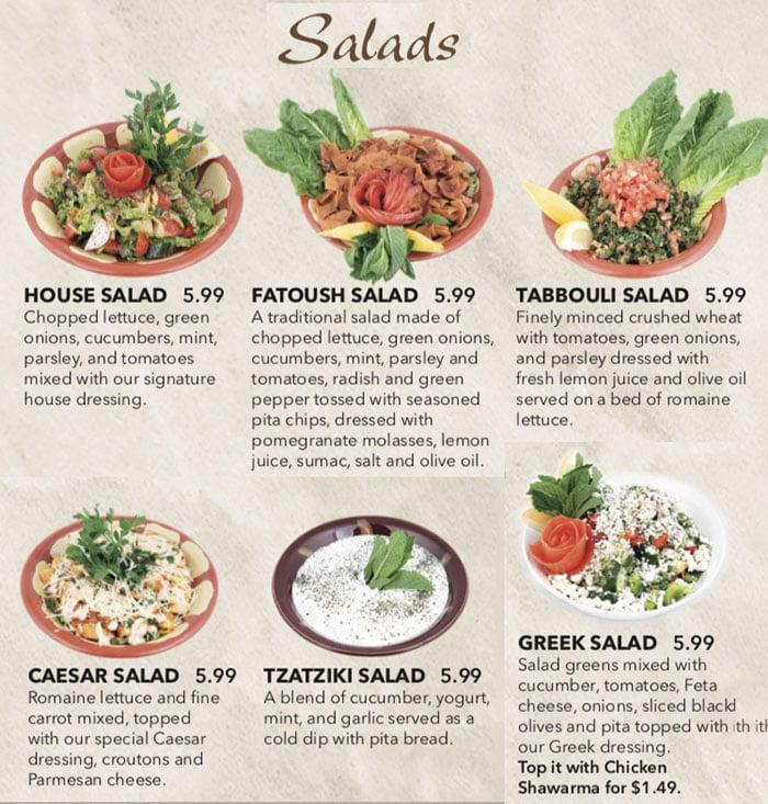 Beirut Cafe menu - salads
