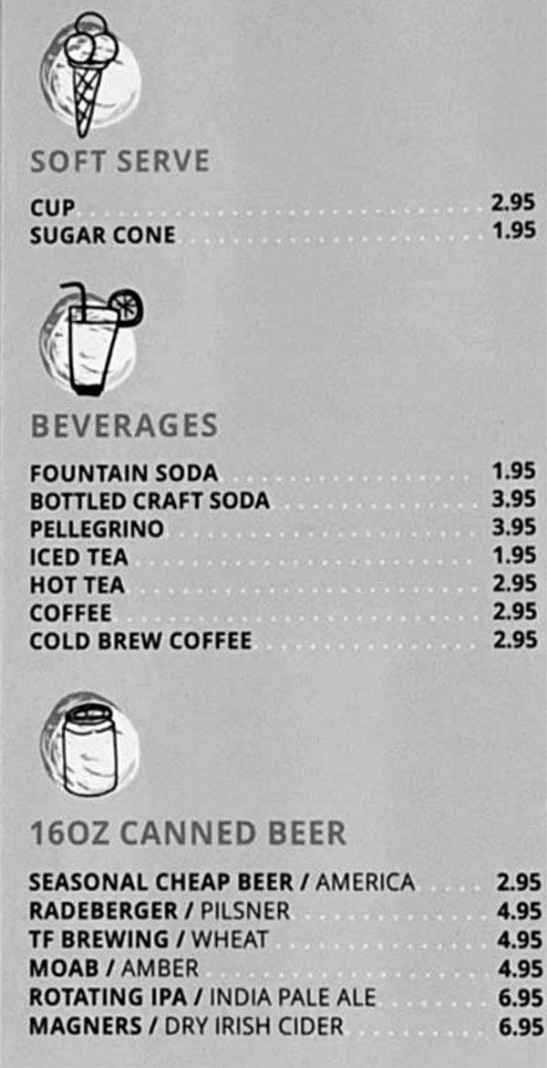 Birdhouse chicken menu - desserts, beverages