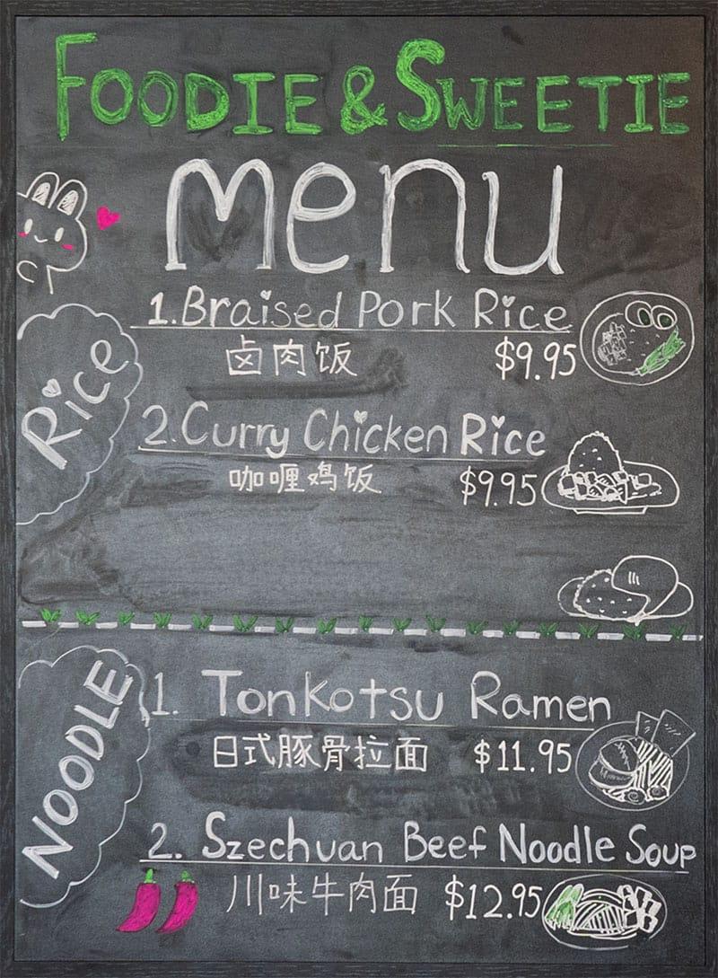 Foodie And Sweetie menu - rice, noodle
