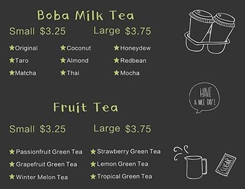 Foodie N Sweetie menu - boba milk tea, fruit tea