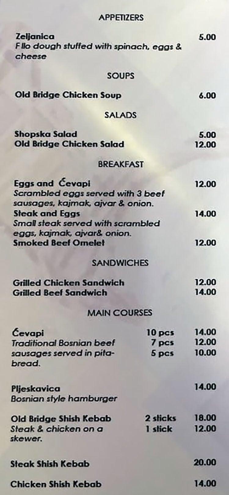 Old Bridge Cafe menu - page one