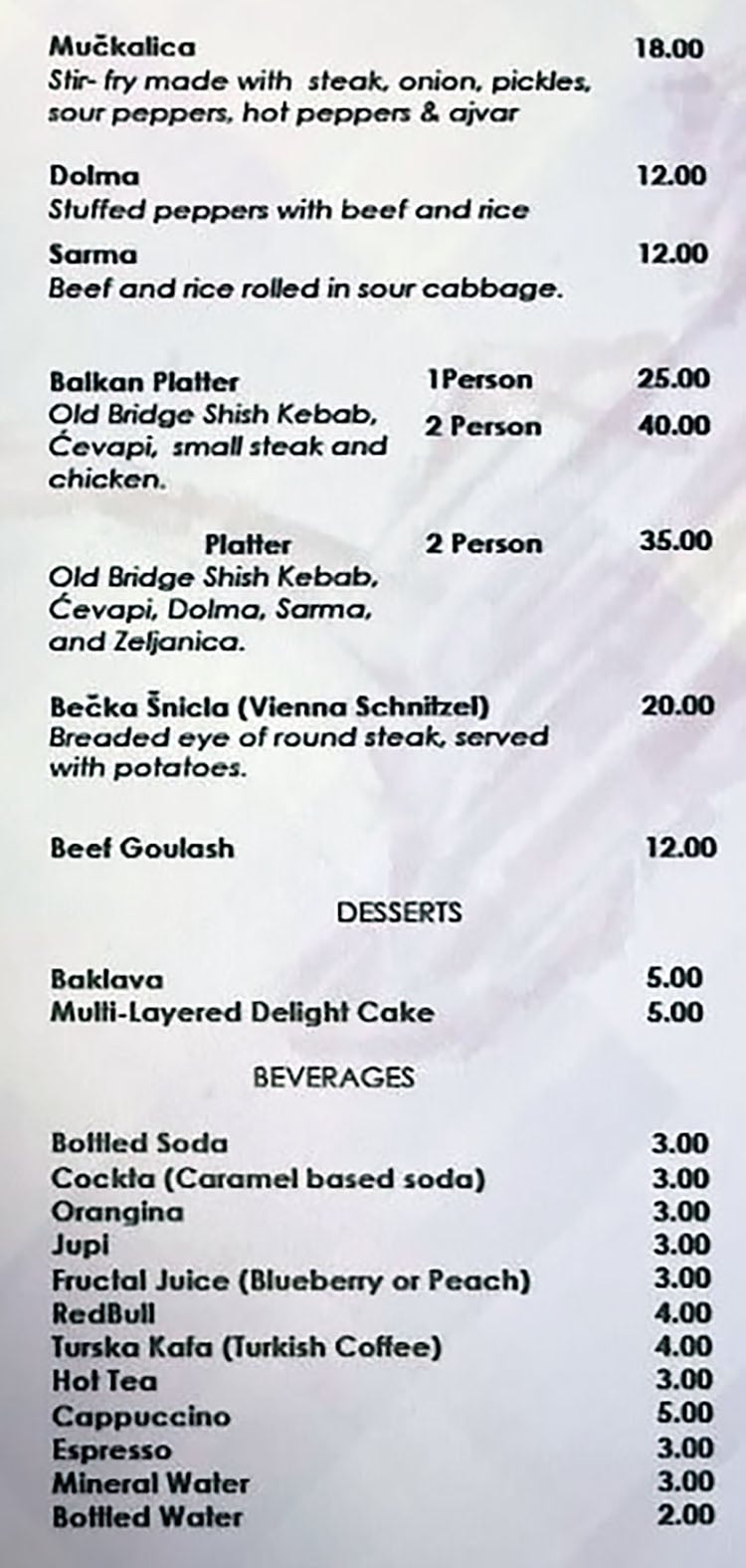 Old Bridge Cafe menu - page two