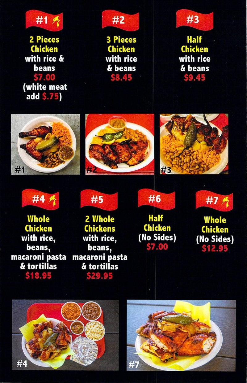 Senor Pollo Mexican Grill menu - page one