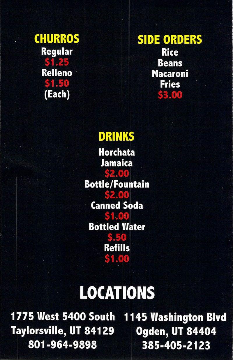 Senor Pollo Mexican Grill menu - page three