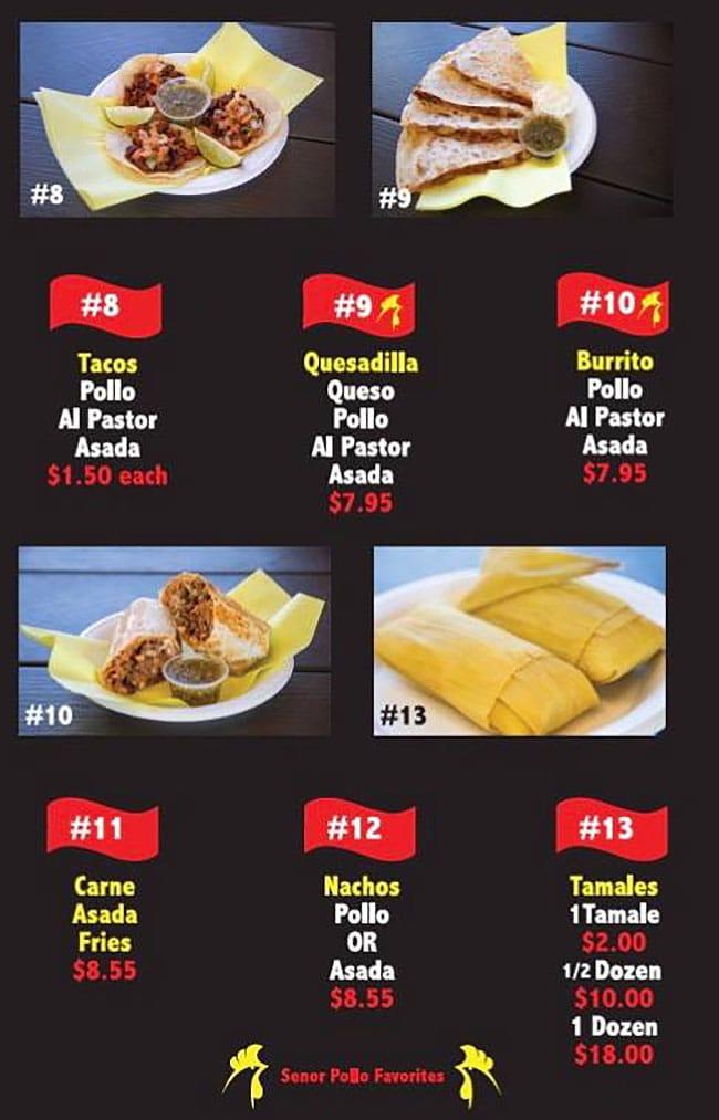 Senor Pollo Mexican Grill menu - page two